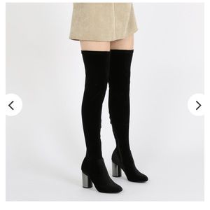 Public Desire Thigh Knee High Velvet Boots Sz 6